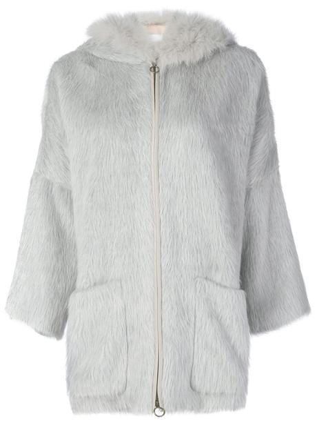 Agnona jacket hooded jacket fur fox women wool grey