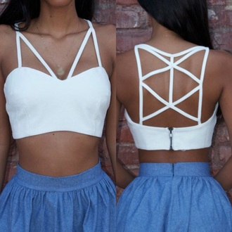 top white cut-out crop tops strappy