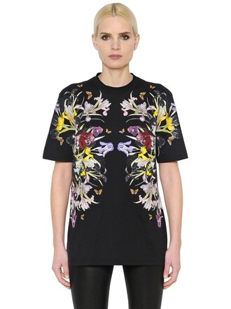 t-shirt shirt flowers cotton black top