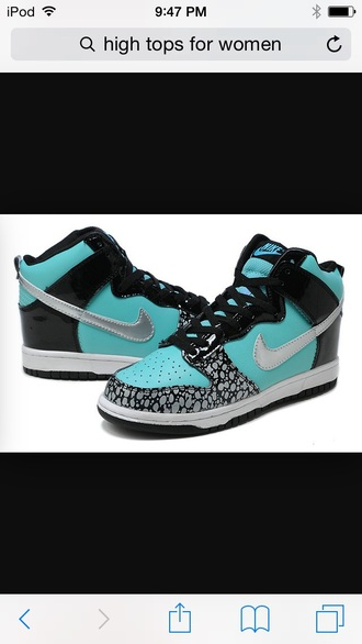 shoes nike shoes teal black shoes