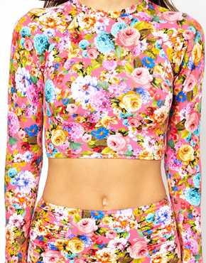 ASOS | ASOS Savannah Floral Long Sleeve Crop Top at ASOS