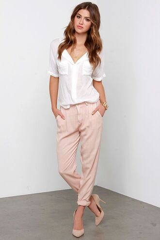 pants pink pants office outfits spring outfits shirt white shirt high heel pumps pumps nude pumps