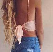 swimwear,peach,bikini,bows,girly,chic,t-shirt,top,blouse,baby pink,orange tank top,tank top,crop tops,dress