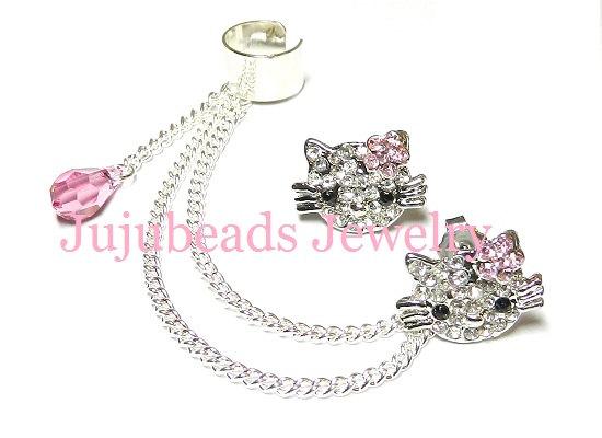 Hello kitty rhinestone swarovski crystal chain ear par jujubee4