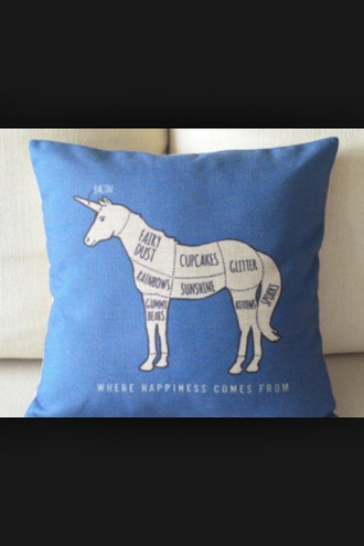 jewels unicorn blue white pillow cute