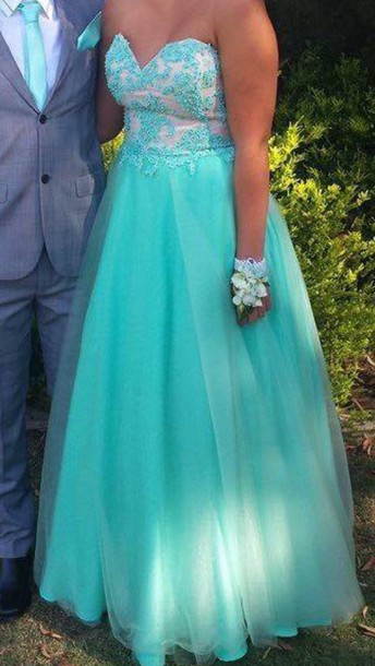 dress aqua formal dress with sequins and lace