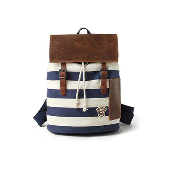 [grhmf22000104]Leisure Navy Style Strip Print Canvas Backpack