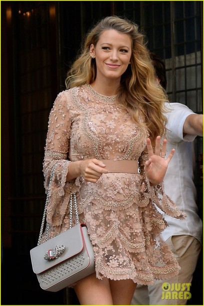 dress floral flashes of style beaded dress nude dress celebrity style party dress grey bag waist belt sequin dress sequins long sleeve dress blake lively gossip girl