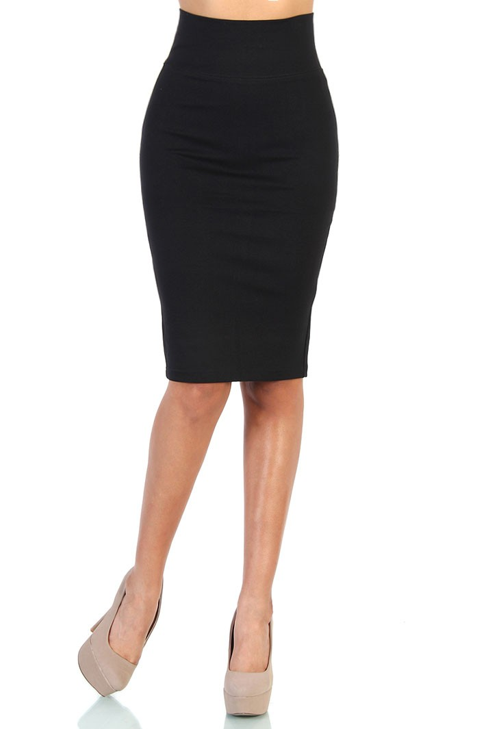 Waist Stretch Ponte Pencil Skirt - Black