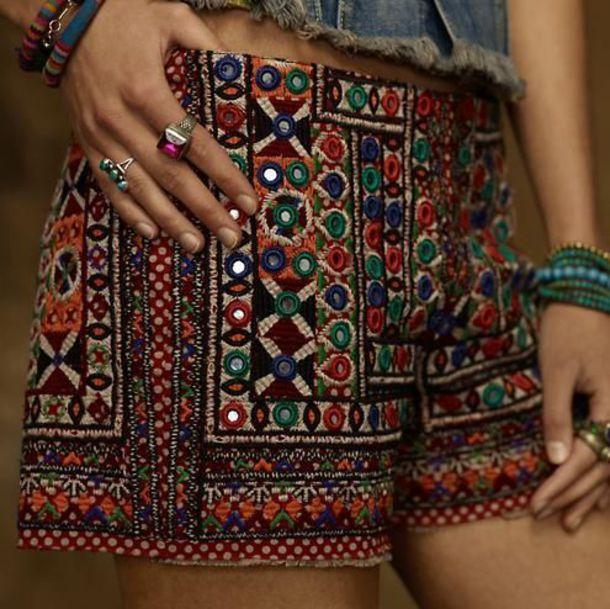 shorts bohemian bohemian shorts tribal pattern