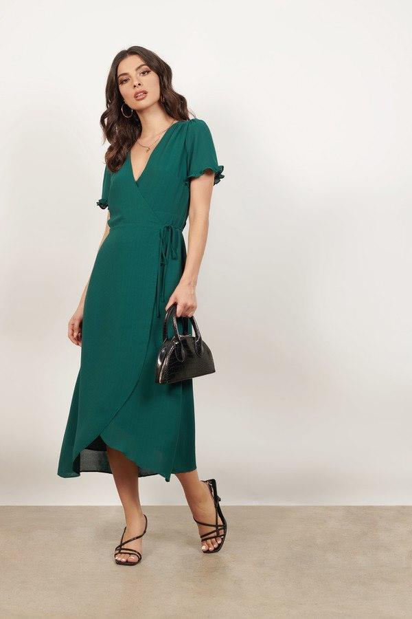 Thinking Too Hard Emerald Wrapped Midi Dress