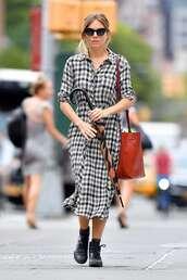 dress,plaid,sienna miller,streetstyle,fall outfits,celebrity,shirt dress
