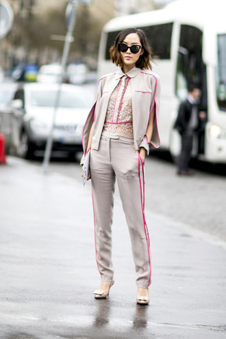 suit streetstyle fashion week 2016 blouse short hair hot pink cape silk grey pants taupe tailoring lace top