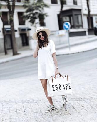 bag tumblr handbag dress mini dress white dress shoes metallic silver shoes sunglasses hat sun hat