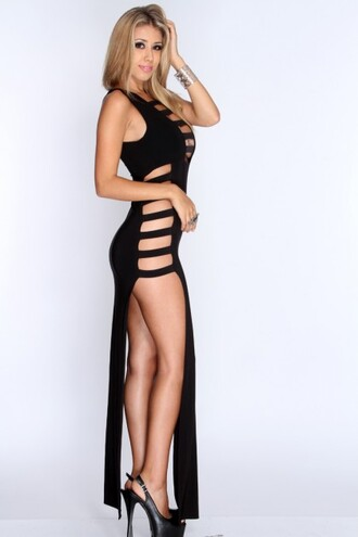 black strappy cut out double slit sexy maxi dress maxi dress cut out double slit dress black strappy dress