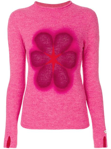 jumper women floral print wool purple pink sweater