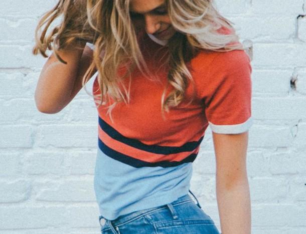 t-shirt blue orange red black white baseball stripes cutie alexis ren light blue instagram model gorgeous outfit