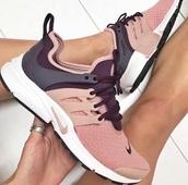 shoes,nike,sneakers,nike air presto,sportswear,pink and purple,nike shoes,nike presto,nike prestos,nude,nude pink,presto,prestos,pink,burgundy,nike air,nike running shoes,cute,pink sneakers,adorable shoes