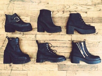 shoes leather black heels boots little black boots black ankle boots front zipper laces buckles buckle boots