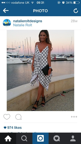 dress grid floaty love similar summer wedding guest flowy dress asymmetrical dress monochrome blackandwhitedress