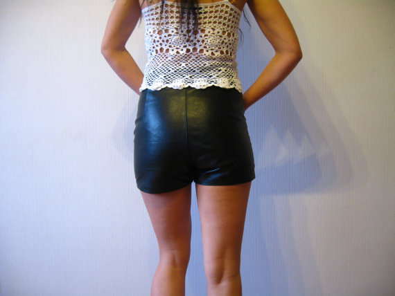 High Waisted Black Leather Shorts Genuine by VintageDreamBox