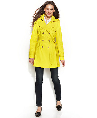 DKNY Double-Breasted Hooded Trench Coat - Women - Macy's