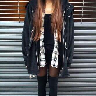 flannel shirt jacket grunge fall outfits grunge jacket oversized hipster coat knee high socks