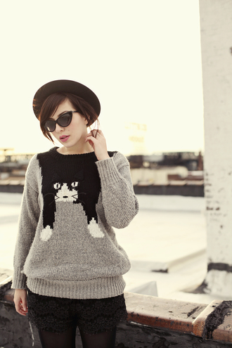keiko lynn hat sweater sunglasses shorts