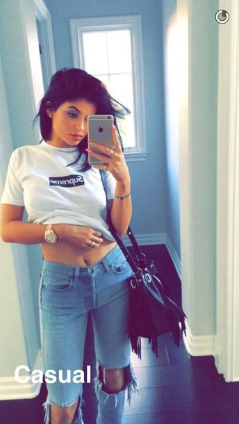 Jeans Kylie Jenner T Shirt White T Shirt Supreme