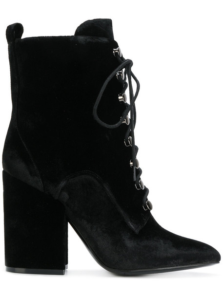 KENDALL+KYLIE women black velvet shoes