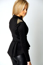 jacket,dip hem top,peplum blazer,peplum top,studded blazers,blazer,gorgeousmode.com