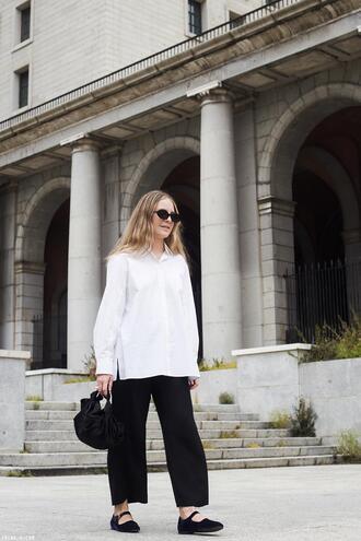trini blogger sunglasses shirt pants bag jewels white shirt black pants spring outfits