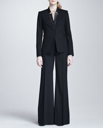 Rachel Zoe Long Double-Breasted Jacket, Dominique Sleeveless Surplice Blouse & Aspen Wool Harem Pants - Neiman Marcus