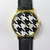 Black and White Houndstooth Watch , Vintage Style Leather Watch, Women Watches, Unisex Watch, Boyfriend Watch,