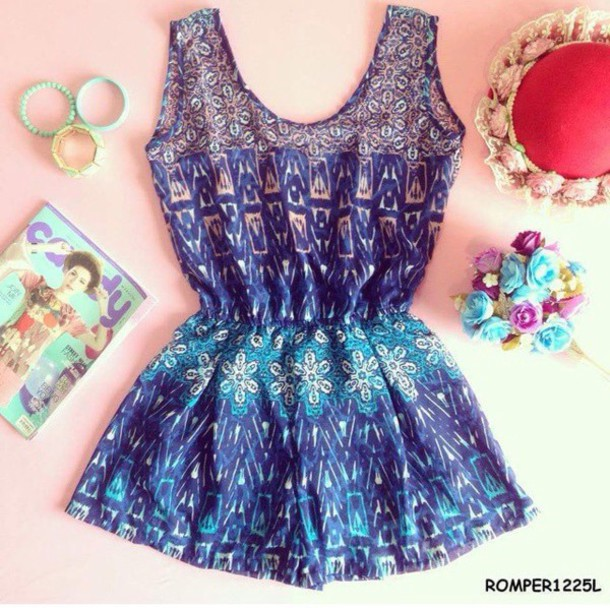 romper purple blue and pink romper