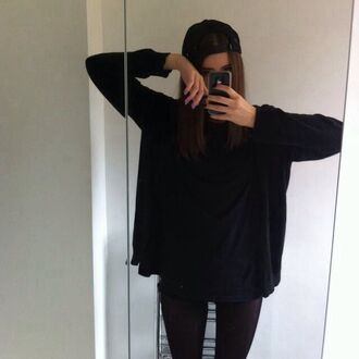 top black t-shirt dress t-shirt tumblr outfit tumblr grunge tank top starbucks coffee logo sweater shirt black sweater soft grunge tumblr girl kawaii dark grunge aesthetic black t-shirt
