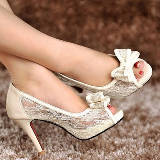 shoes open toes wedding accessories bride bow heels heel lace dress bows special occasion white high heels off-white cream high heels cream wedding shoes lace shoes