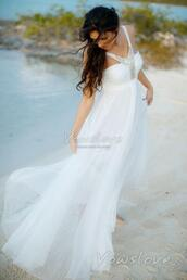 dress,beach wedding dress,wedding dress,wedding clothes,bridal gown,vowslove.com,chiffon,holiday season