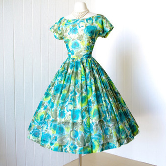 dress turquoise dress green dress blue dress patterned dress white floral dress floral dress helpmefindthis love it find it please i need these so bad 40's cocktail dress