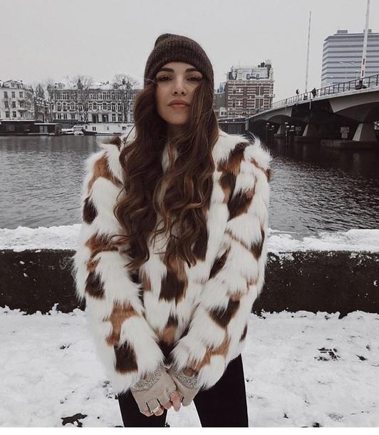 jacket brown fur white neginmirsalehi