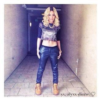 shirt blonde hair pretty rita ora pants crop tops black top jeans black
