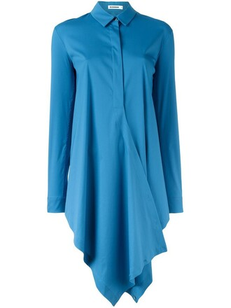 shirt asymmetric shirt blue top