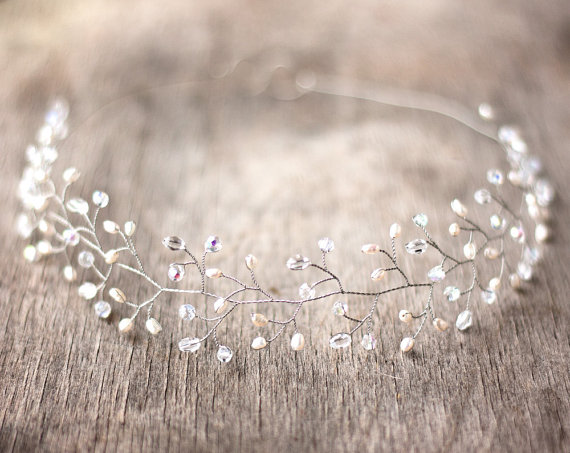 Wedding headpiece Silver tiara Crystals tiara Bridal by ArsiArt