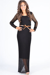dress,popcouture,ladies,maxi dress,tie belted long sleeve,black