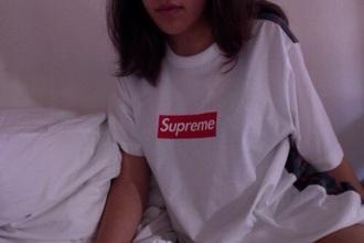 t-shirt supreme supreme t-shirt white tee