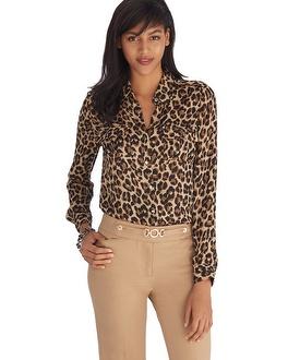 Black market long sleeve leopard print silk shirt