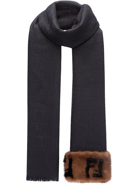 Fendi fur women scarf black wool