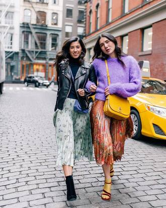 sweater tumblr sweater weather lilac knit knitwear knitted sweater skirt midi skirt pleated pleated skirt friends boots ankle boots bag yellow yellow bag