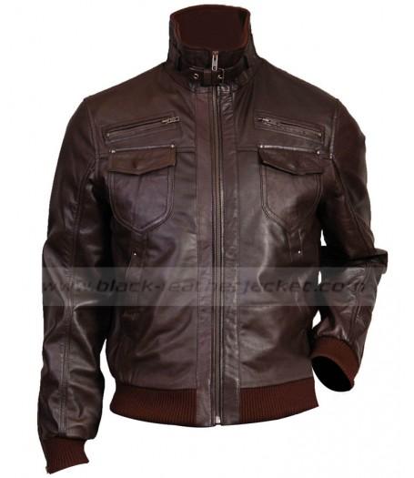 1abc6434e Dark Brown Leather Jacket Mens | Slim Fit Bomber Jacket for Men