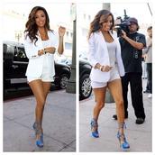shoes,eva longoria,blue,lace up heels,jacket,shorts,colorful,all white everything